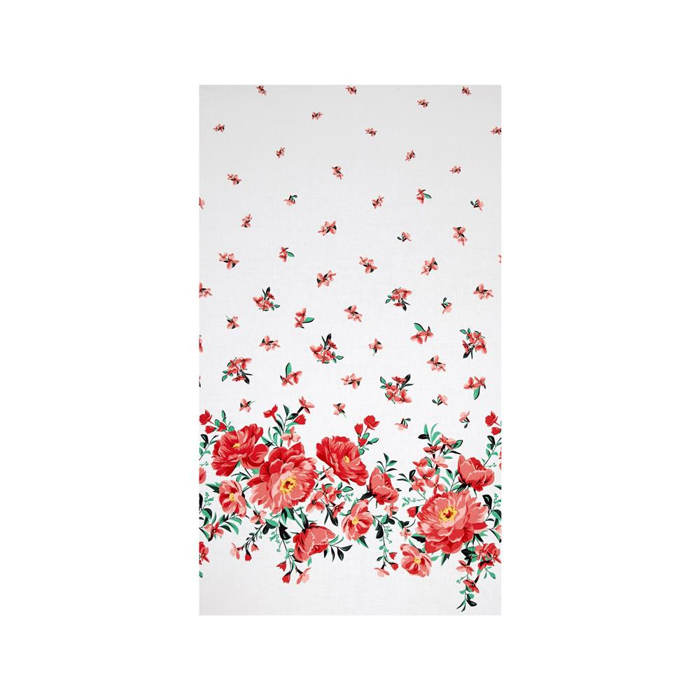Michael Miller Bed of Roses Cabbage Rose Border Coral Fabric By The Yard