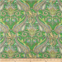Chiffon Abstract Paisley Green/Yellow/Peach