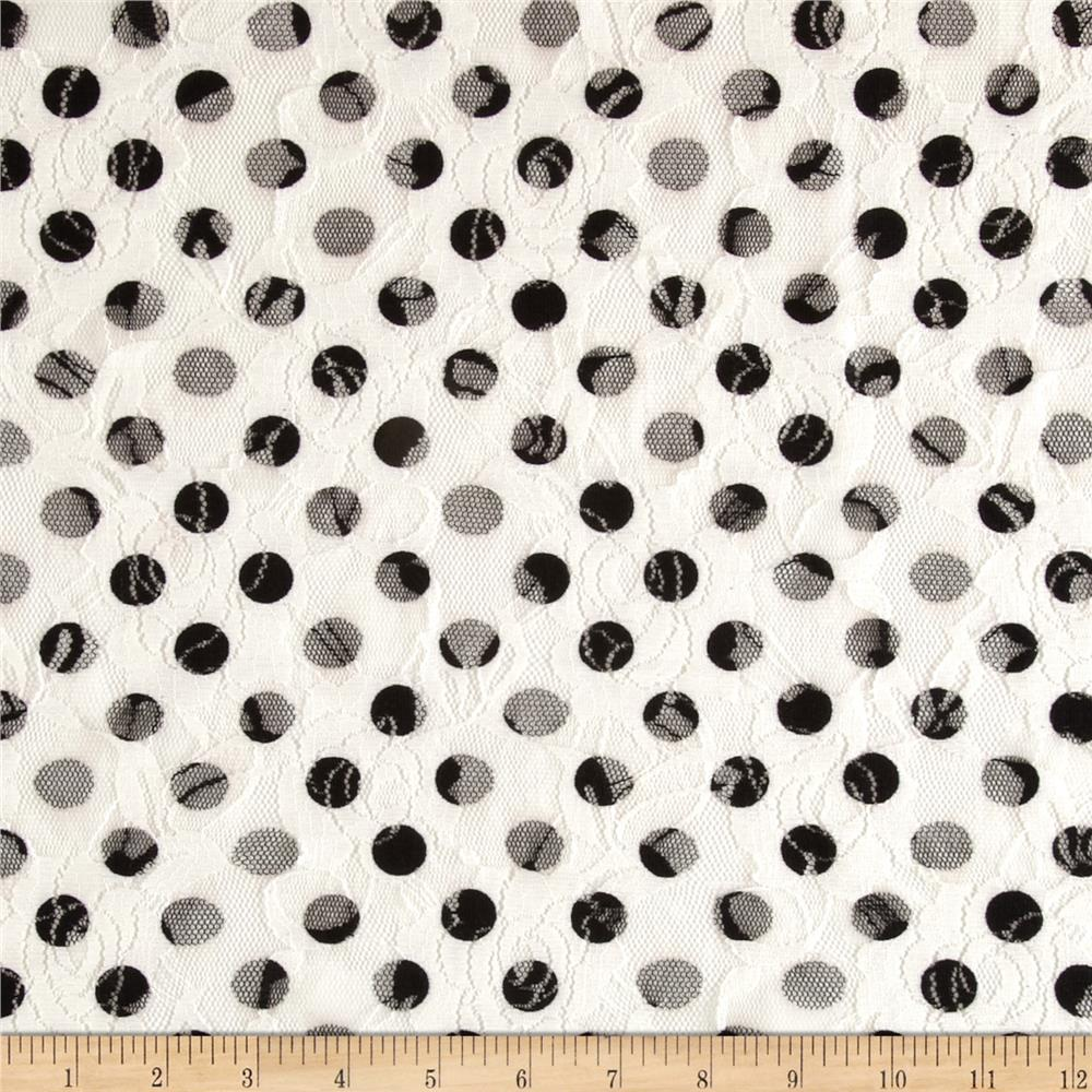 Printed Lace Dots Black/Cream