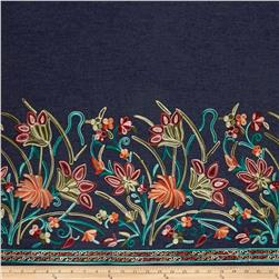 Telio Denim Chambray Floral Embroidery Single Border Garnet/Green/Teal/Orange