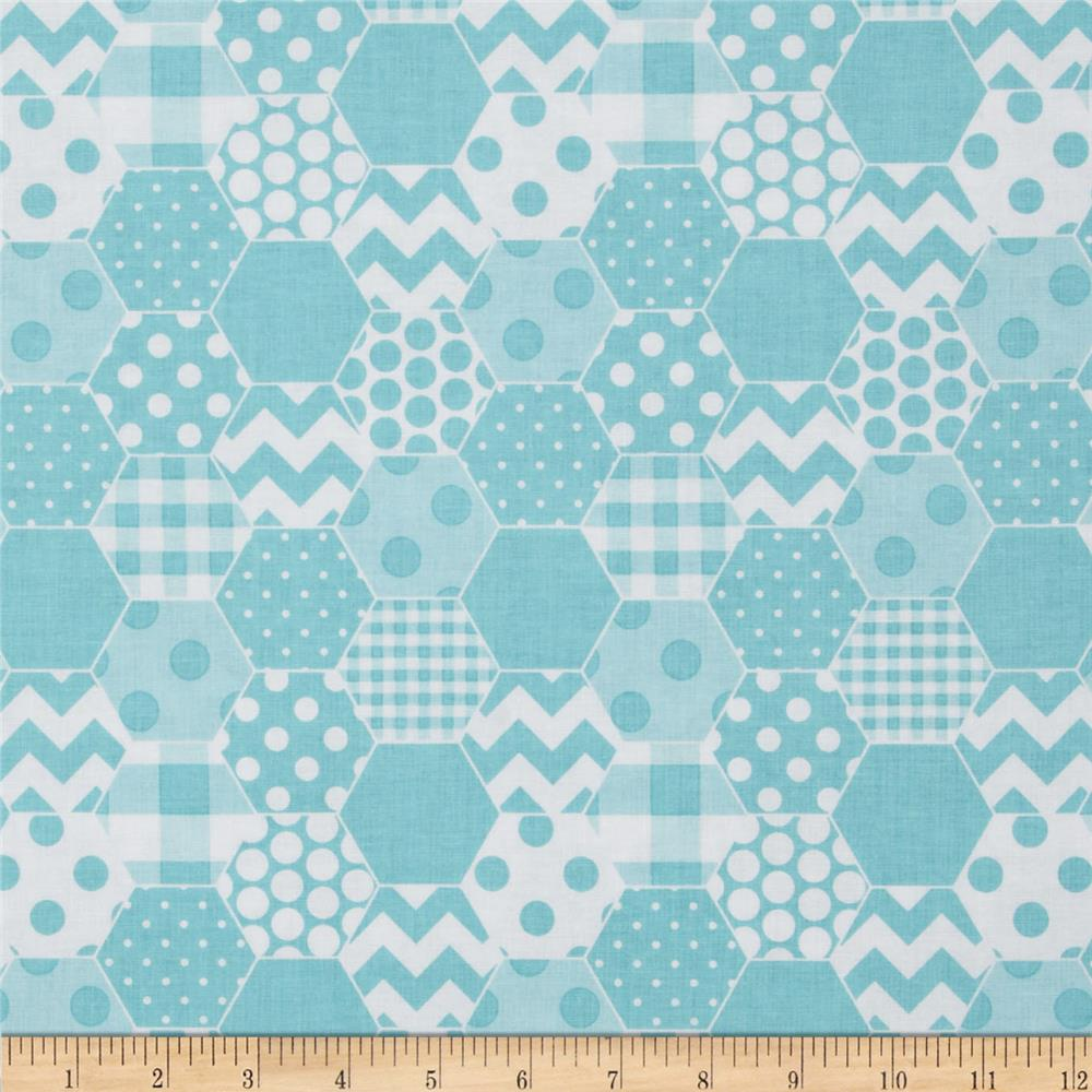 Riley blake hexi print aqua discount designer fabric for Quilting material