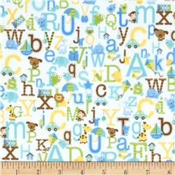 Riley Blake Snips & Snails Flannel Alphabet White