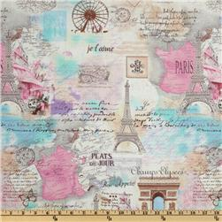 Timeless Treasures April In Paris Collage Pastel Fabric
