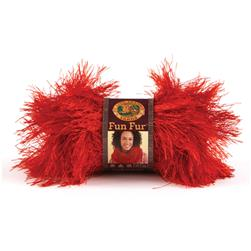 Lion Brand Fun Fur Yarn (113) Red