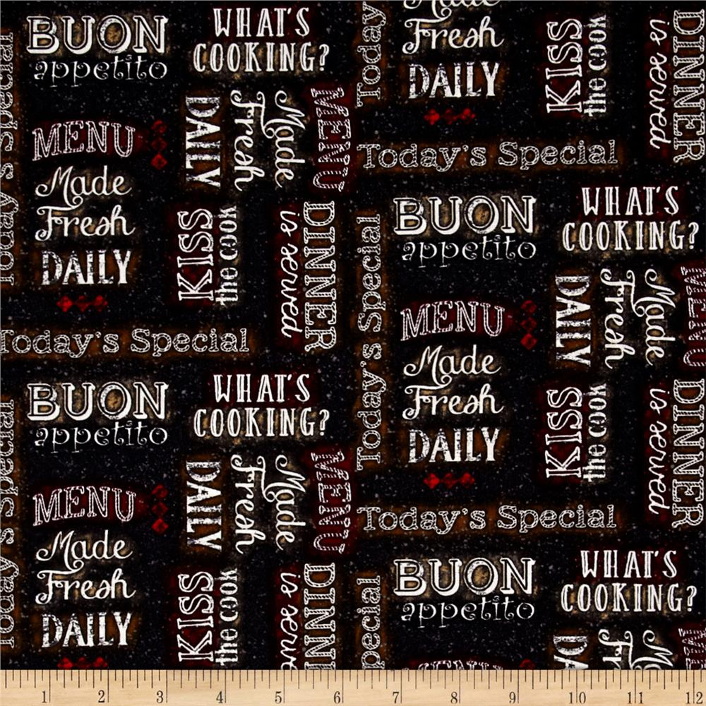 Buon Appetito Chalkboard Words Charcoal