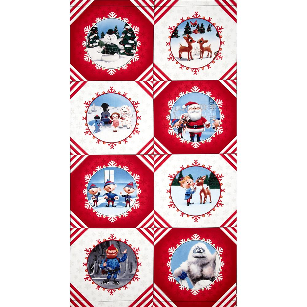 Rudolph 50 Years Character Block Panel Fabric By The Yard