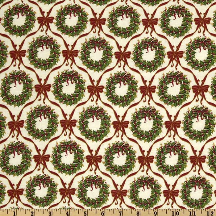 Merry Christmas Wreaths & Bows Green/Red Fabric