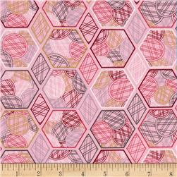Jenean Morrison Lovelorn Hexagons Pink Fabric