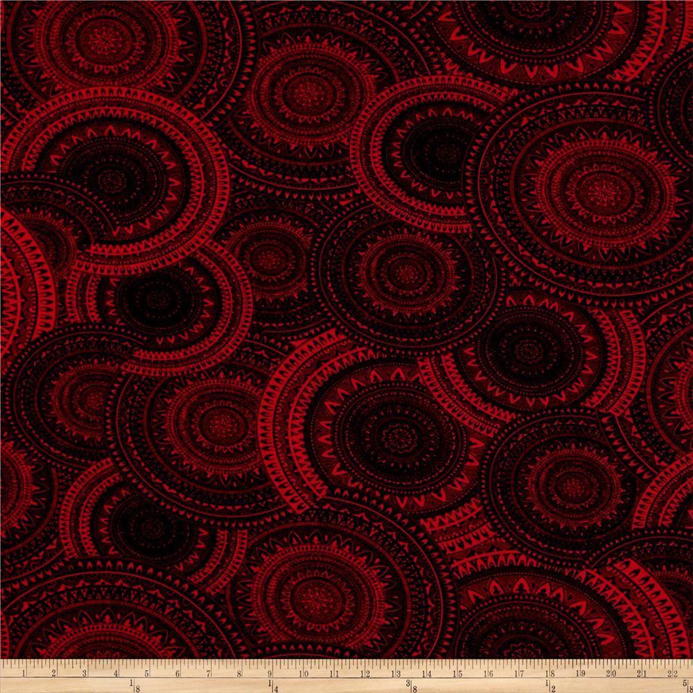 Stretch ITY Jersey Knit Mosaic Circles Red Black