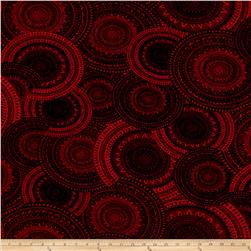 ITY Jersey Knit Mosaic Circles Red Black