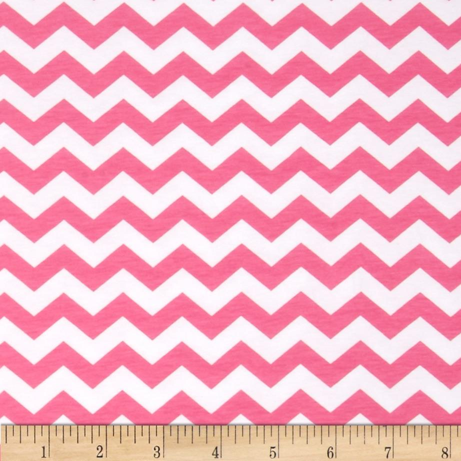 Riley Blake Cotton Jersey Knit  Small Chevron Hot Pink