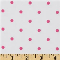 Comfy Flannel Dots White/Hot Pink Fabric