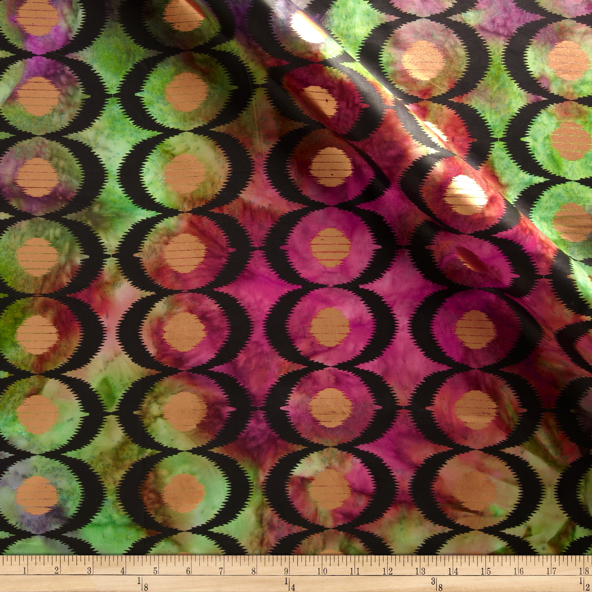 Indian Batik Diamond Ikat Fuchsia/Purple Fabric