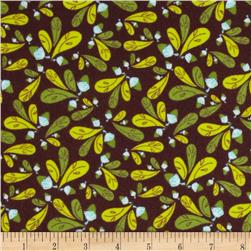 Whoo's Cute Flannel Leaves Brown