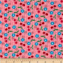 Tutti Frutti Plisse Flowers and Cherries Pink Fabric