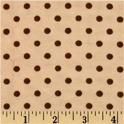Aunt Polly's Flannel Smal Polka Dots Cream/Brown