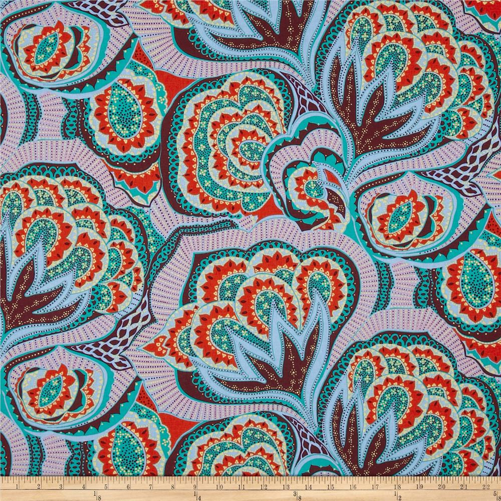 Amy Butler Linen Hapi Oasis Periwinkle Fabric By The Yard