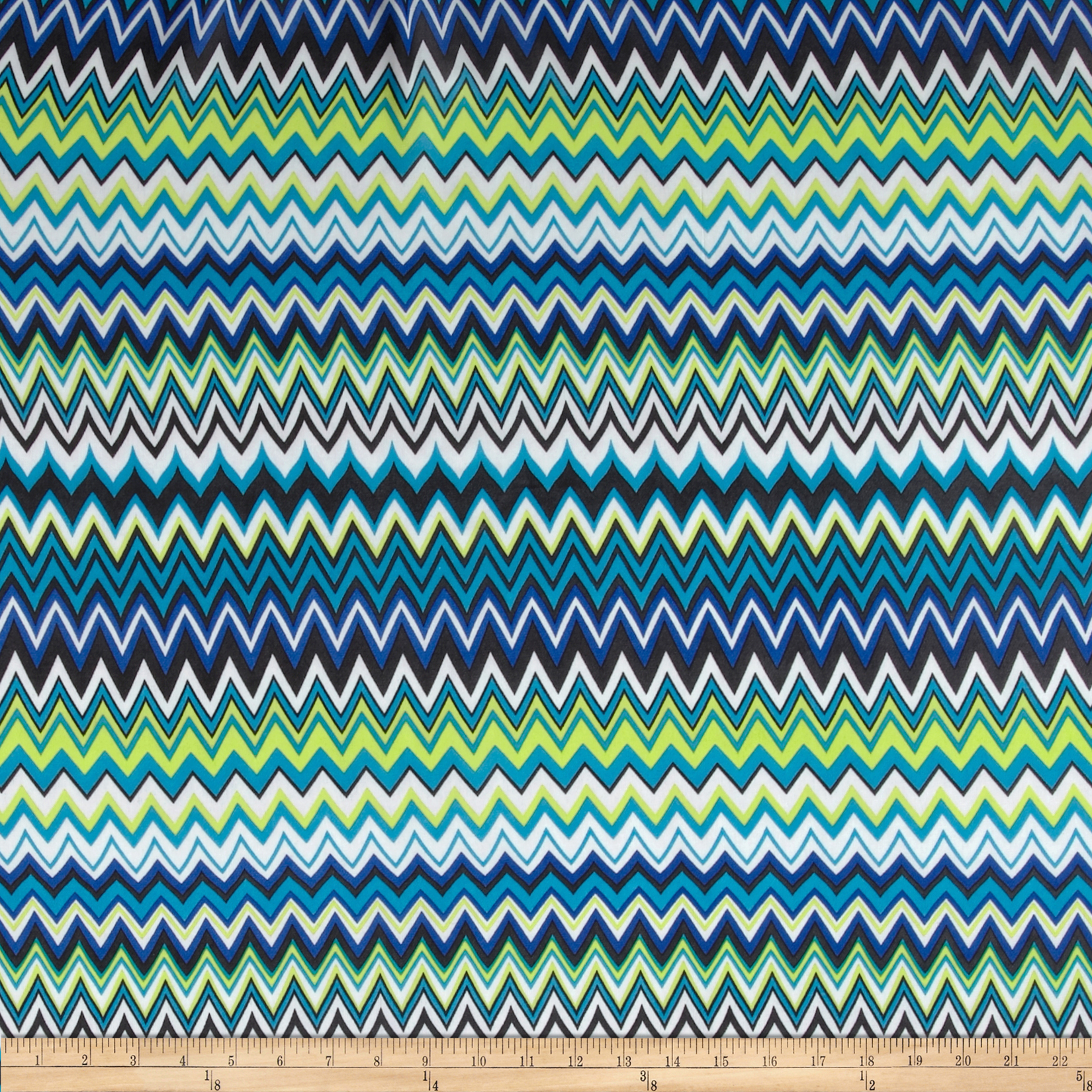 Chiffon Zig Zag Blue/Multi Fabric