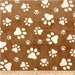 Shannon Minky Cuddle Prints Paws Cappuccino/Ivory