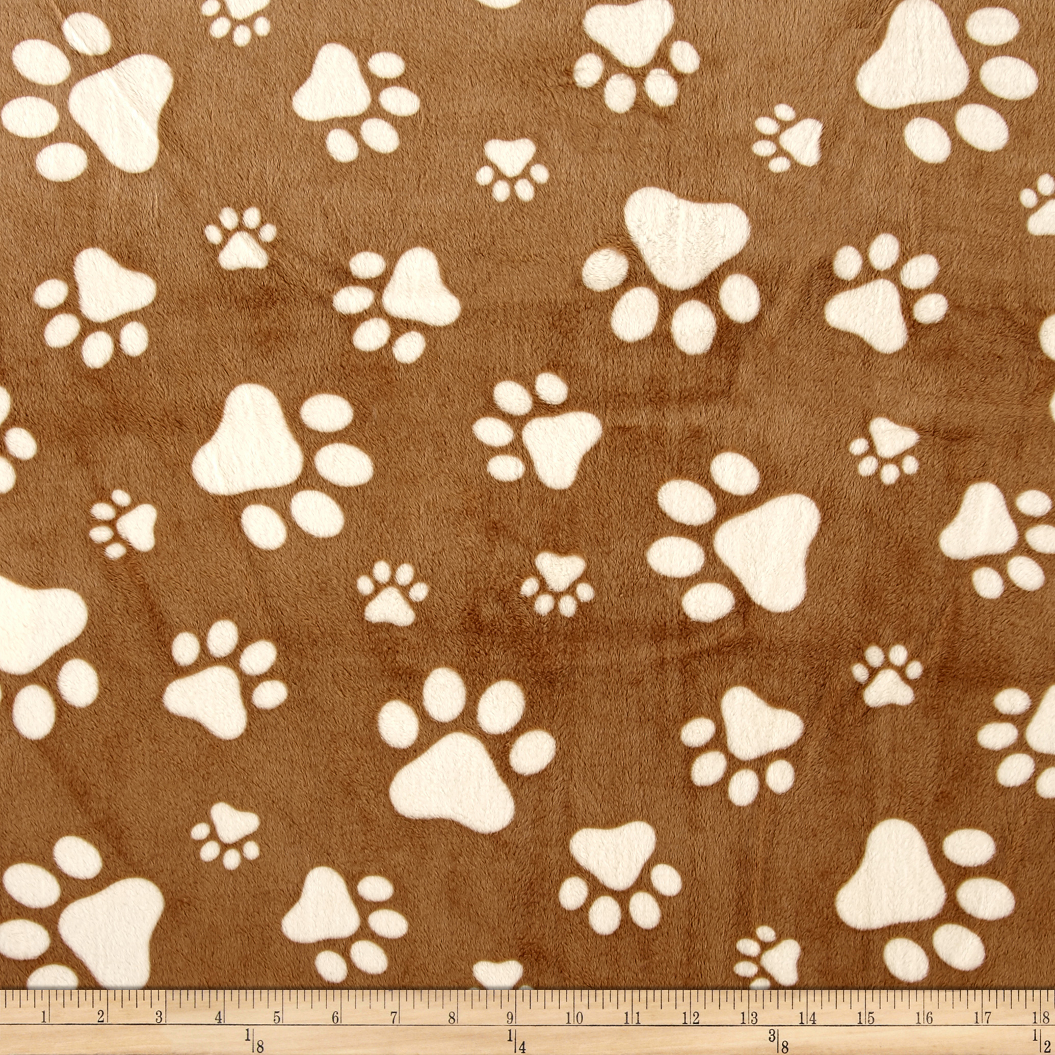 Shannon Minky Cuddle Prints Paws Cappuccino/Ivory Fabric