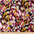 Designer Stretch ITY Abstract Gold/Fuchsia