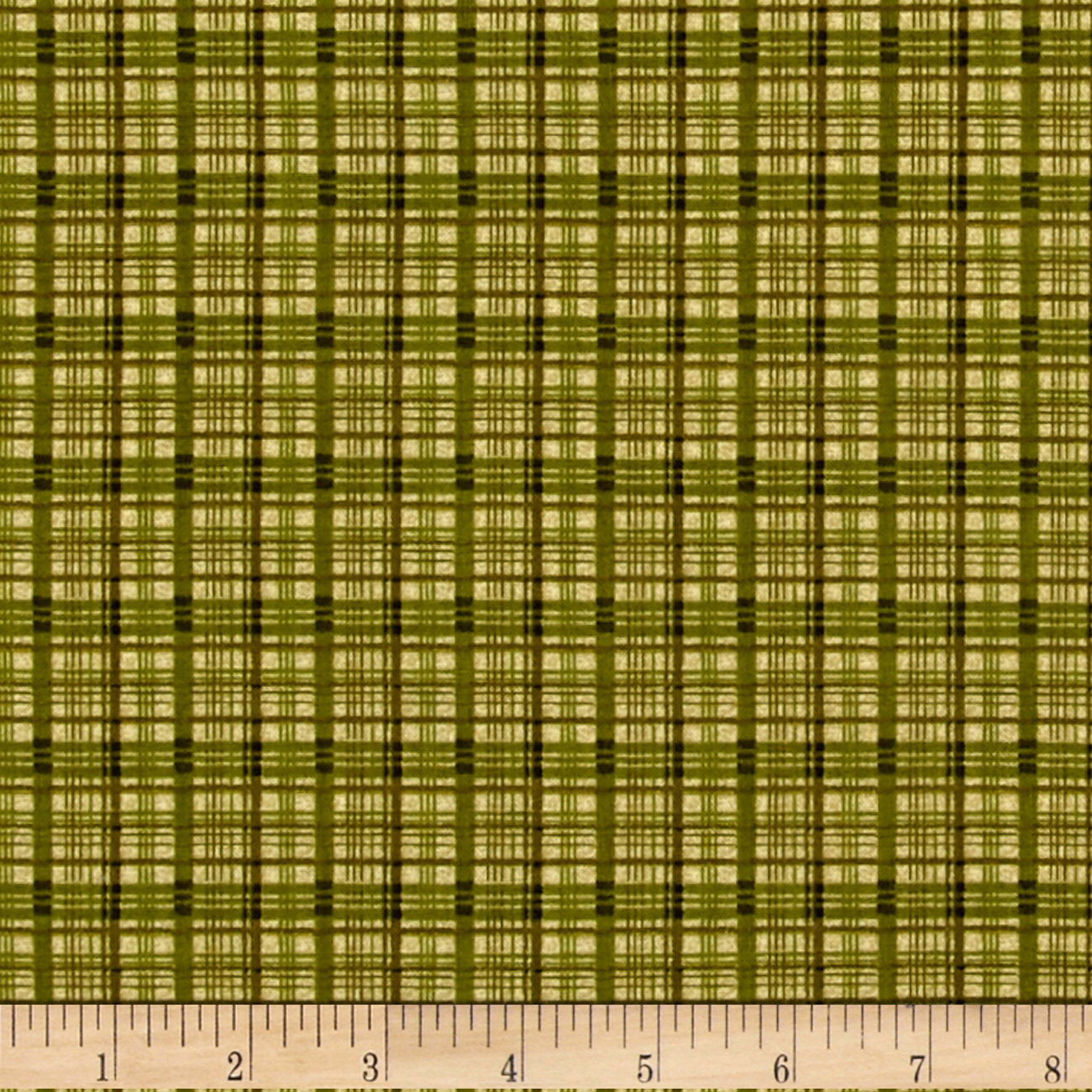 Image of A Cat For Every Season Cat Nap Plaid Green Fabric