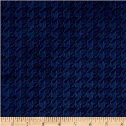 Minky Embossed Houndstooth Navy