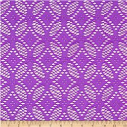 Diamond Floral Crochet Lace Stretch Knit Grape