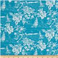 Hoffman Tropicals Sailboats and Flowers Aqua