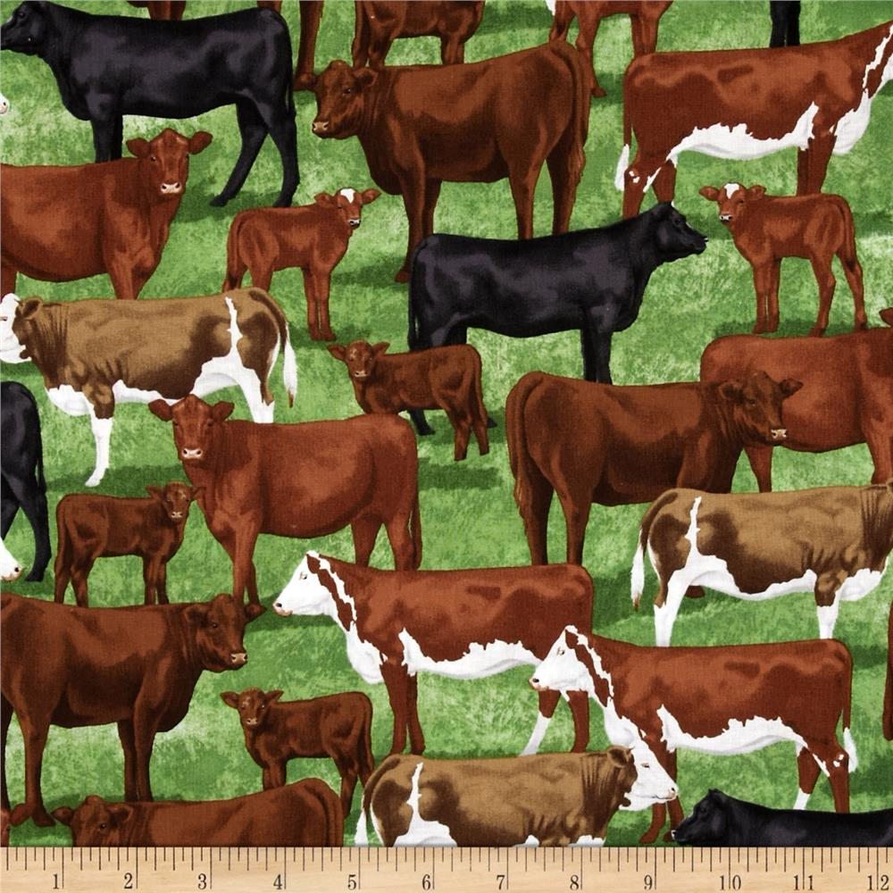 Timeless Treasures Beef Cows Green
