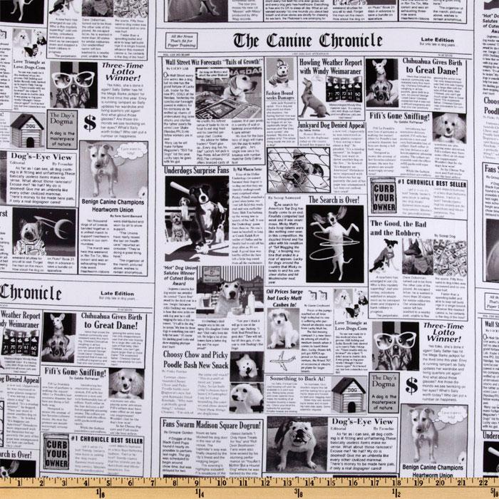 Timeless Treasures Newspaper Black/White