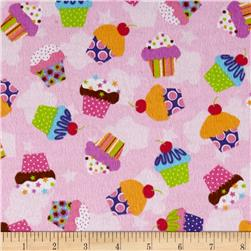 Lollipops Flannel Cupcakes Pink