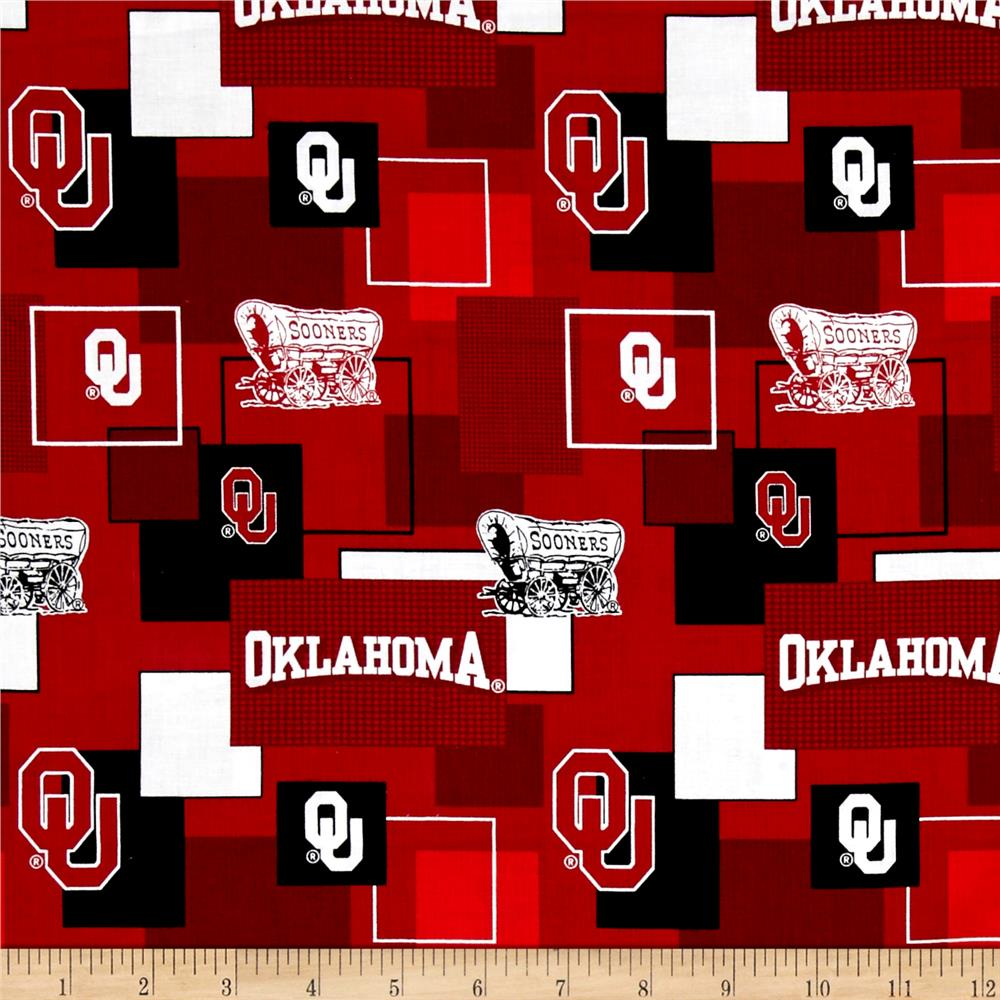 Collegiate Cotton Broadcloth University Of Oklahoma Block Print