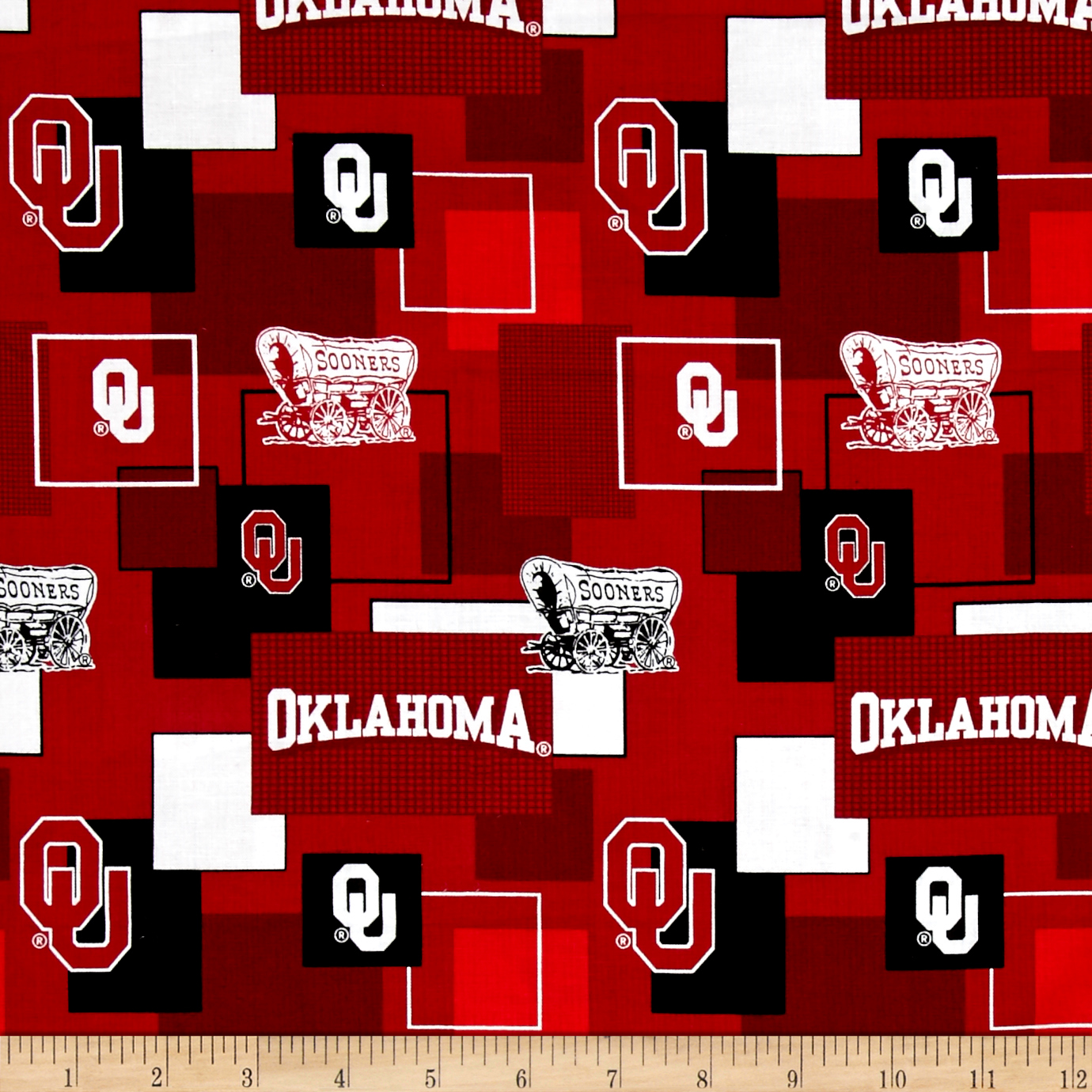 Collegiate Cotton Broadcloth University Of Oklahoma Block Print Red Fabric by Sykel in USA