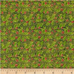 Christmas Day Holly Berry Green Fabric