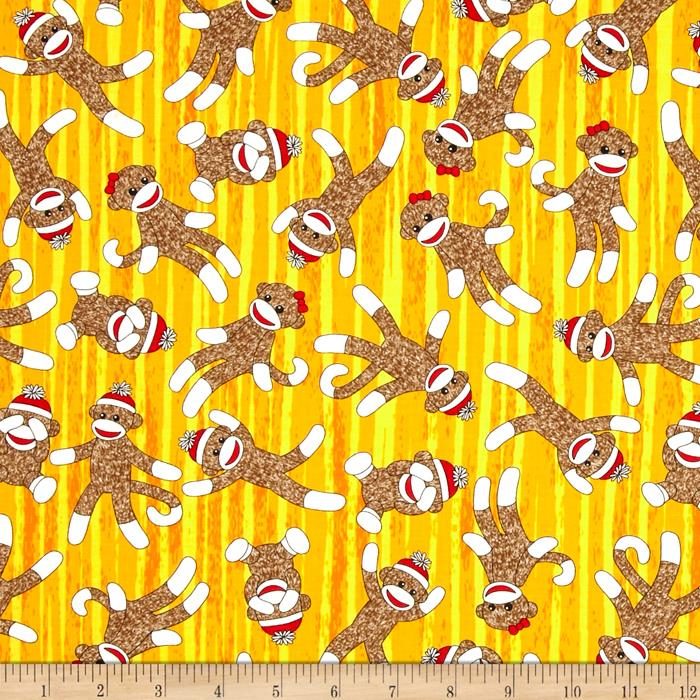 Sock Monkeys in Space Teleporting Monkeys Yellow