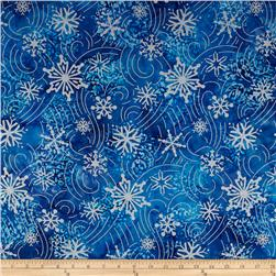 Robert Kaufman Artisan Batiks Metallic Noel Large Flakes Medallion Nightfall
