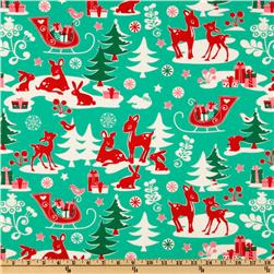 Michael Miller Holiday Yule Critters Aqua Fabric