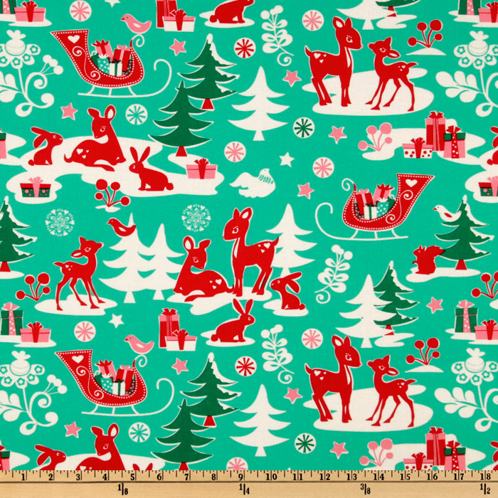 Old Fashioned Aprons & Patterns Michael Miller Holiday Yule Critters Aqua Fabric By The Yard $6.03 AT vintagedancer.com