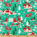 Michael Miller Holiday Yule Critters Aqua