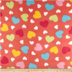 Fleece Print Happy Heart Coral