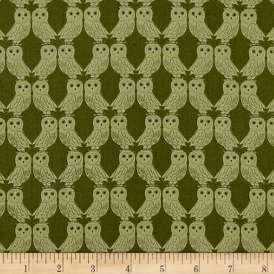 Enchanted Forest Owls Green Fabric by E. E. Schenck in USA