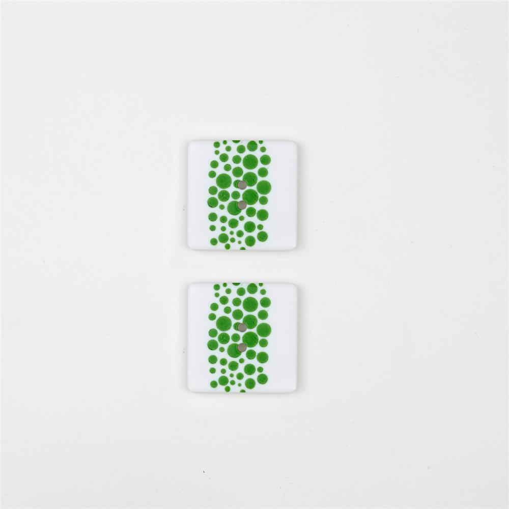 Dill Novelty Button 1''  Dot on a Square White