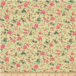 Jersey Knit Wallpapper Floral Yellow