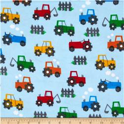 Comfy Flannel Tractors Blue Fabric