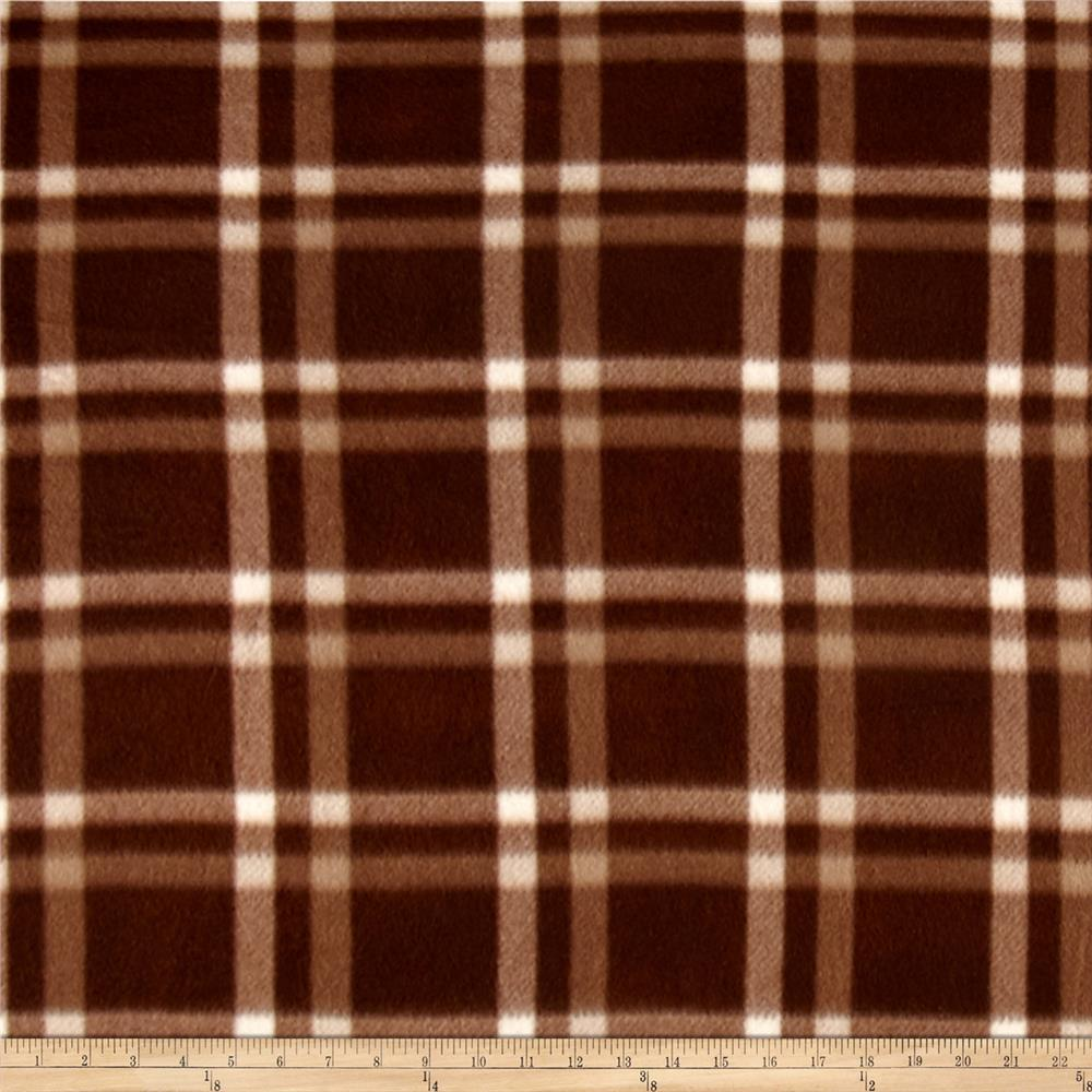 Polar Fleece Print Club Plaid Brown
