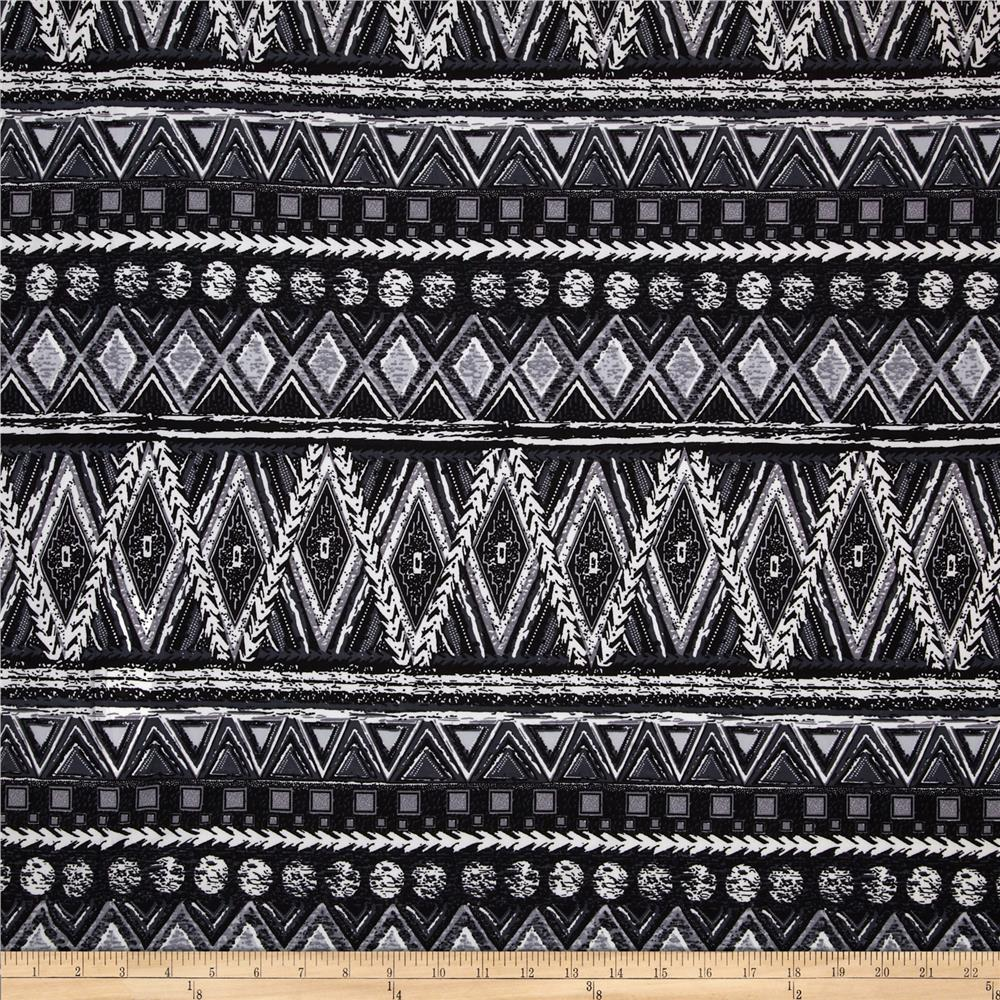 Poly Spandex ITY Jersey Knit Abstract Black/White/Charcoal
