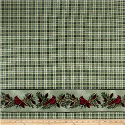 Backyard Birds Flannel Border Print Green