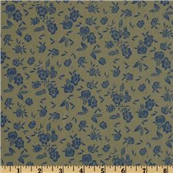 Country Cotton Shirting Floral Olive/Blue
