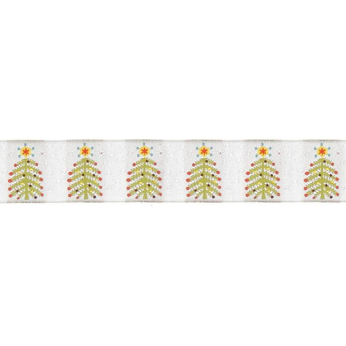 "1 1/2"" Sue Spargo Christmas Tree Ribbon Silver"